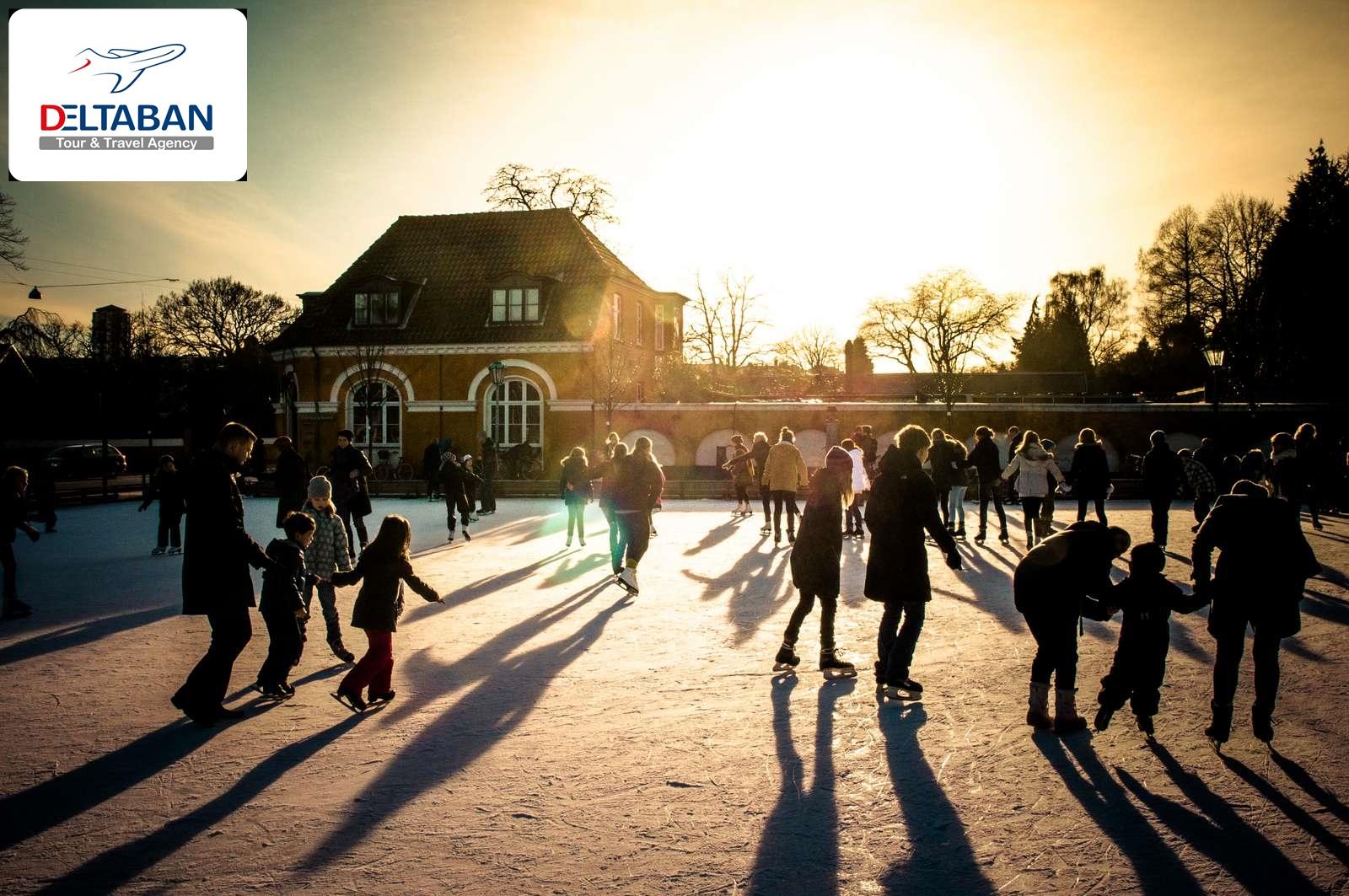 اسکیت روی یخ در پارک Frederiksberg Hava