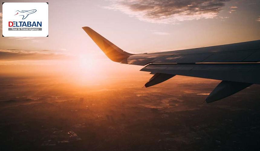 عکس از هواپیما در غروب آفتاب