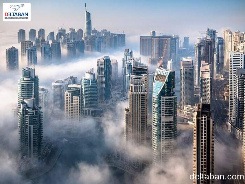 نمایی زیبا از آسمان خراش های شهر دبی