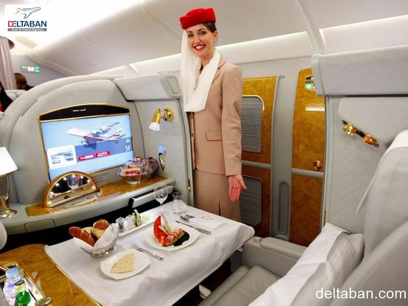 نمایی زیبا از کلاس بیزینس هواپیمایی امارات