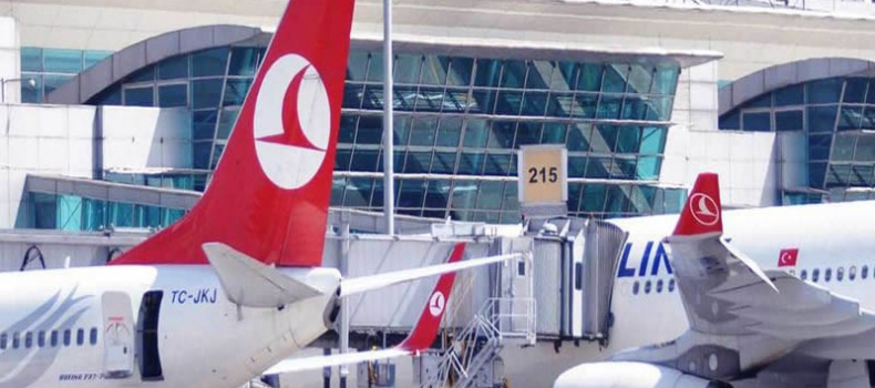 نمایی از هواپیماهای پارک شده در فرودگاه جدید استانبول