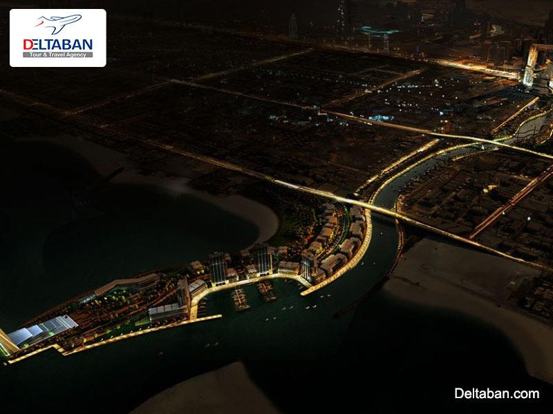 کانال آب دبی در شب