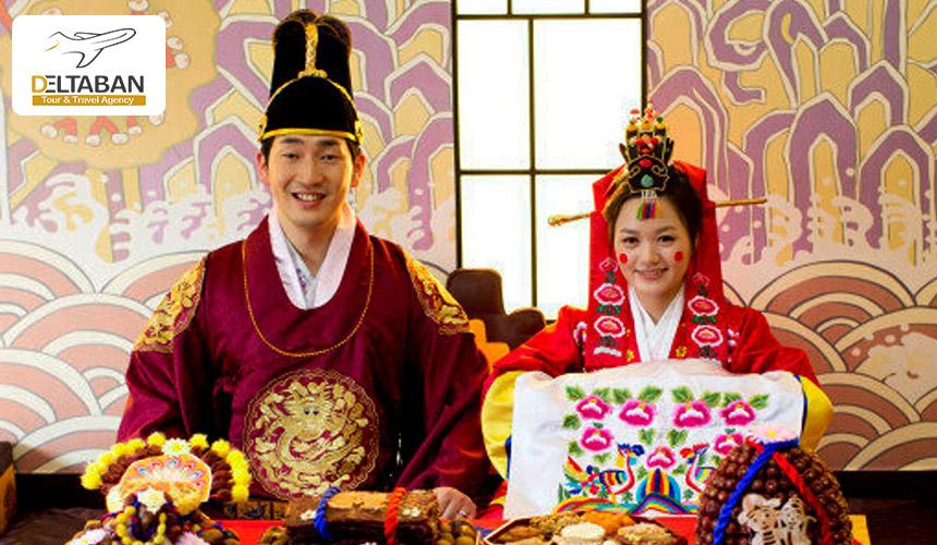 تصویری از عروس داماد کره ای و عجیب ترین آداب ازدواج