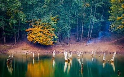نمایی از دریاچه ای در ساری