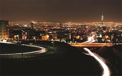 نمایی زیبا از تهران در شب