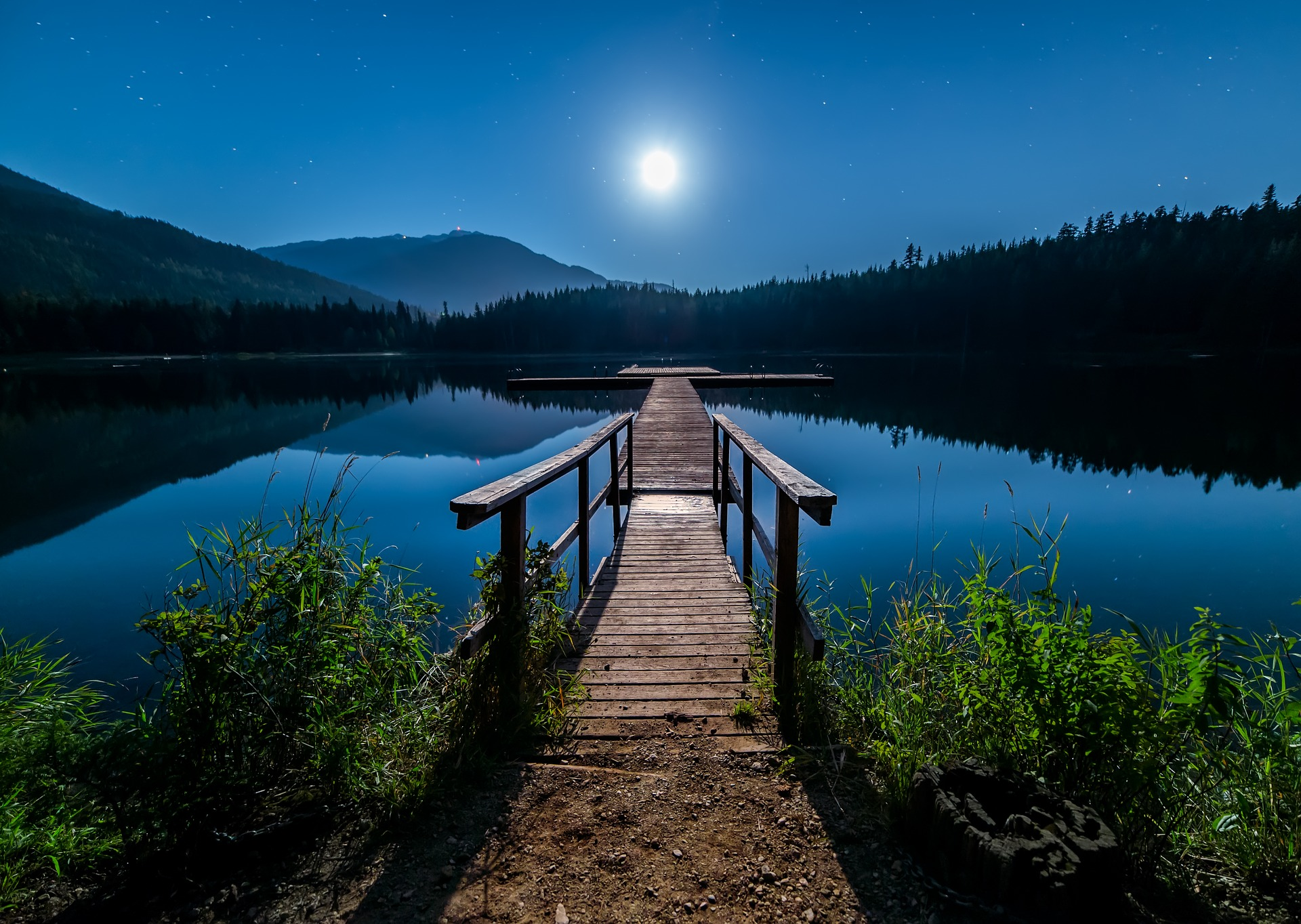 غروب ماه بر روی دریاچه ای در انگلستان